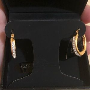 Macy's gold coated 12MM crystal hoop earrings NWT